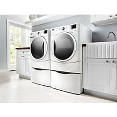 Maytag-3.5 cu. ft. Front-Load Washer, 6.7 cu. ft. Electric Dryer and Matching Pedestal