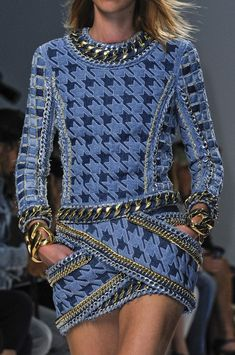 Balmain Spring 2014 RTW - Details - Paris Fashion Week - Runway, Fashion Shows and Collections - Vogue // beautiful blue pattern