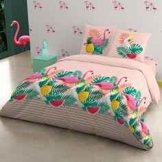 Flamingo, une parure de lit Blancheporte dans la tendance Miami de cet été.