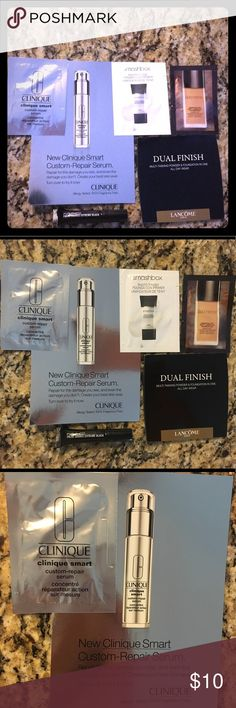 🆕Lot of makeup samples bundle Brand new samples from Nordstrom products- .05 oz Smashbox primer, mini Mac mascara, .05 oz Clinique custom repair serum, .07 oz Laura mercer foundation & Lancome dual finish foundation. Makeup