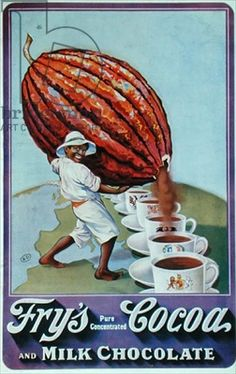 Poster advertising the drinking chocolate 'Fry's Cocoa', 1906 (color litho) Vintage Labels, Vintage Ads, Vintage Posters, Retro Advertising, Vintage Advertisements, History Of Chocolate, Vintage Baking, Cocoa Chocolate, Banners