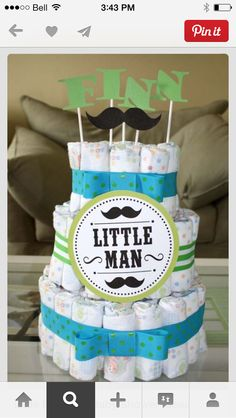 Mustache themed babyshower blanket cake