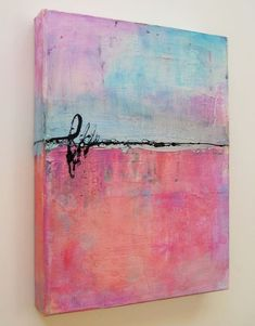 """by Debbie Davis ~ """"Cotton Candy"""" was created on a canvas using acrylic paint for the first layer; then spread paste with a palette knife; stamped into it with bubble wrap for texture. After paste dried, added scribbled on Caran D'Ache watercolor crayons &used a wet brush to paint out areas. Scribbled on a bit of India ink to bring it to together."""