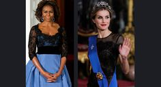 Left: Michelle Obama wears a custom $12,000 Carolina Herrera gown for the France State Dinner in February 2014. Right: Queen Letizia wears a $6,000, off-the-rack Carolina Herrera gown at a gala in Spain on Oct. 29, 2014. She is also wearing a royal tiara passed down to her from Queen Sofia of Spain.
