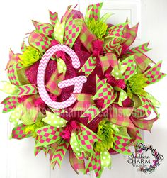 Custom Order Wreath hot pink green deco mesh wreath by www.southerncharmwreaths.com