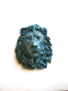 Faux Taxidermy Large Lion Head Wall Mount/Wall Hanging: Leonard the Lion in marine blue