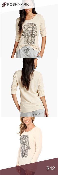 Lucky Brand Hamsa Elephant long sleeve tee NWT! Cream with black graphic and long sleeves. Last one! Lucky Brand Tops Tees - Long Sleeve