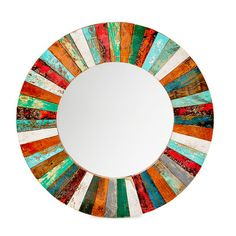 EcoChic Lifestyles Compass Rose Reclaimed Wood Mirror