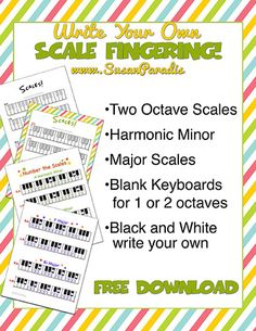 Write Your Own Scale Fingering - Susan Paradis Piano Teaching Resources Vocal Lessons, Piano Lessons, Music Lessons, Piano Teaching, Teaching Resources, Music Basics, Piano Scales, Music Worksheets, Singing Tips