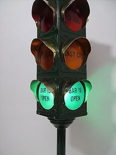 Vintage B&B TRAFFIC SIGNAL BAR LIGHT Closed Last Call Bar Open Barware Pub WORKS