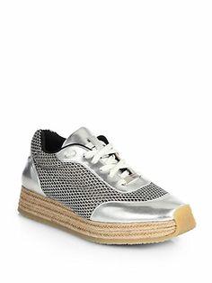 Stella McCartney - Perforated Metallic Lace-Up Espadrille Sneakers Espadrille Sneakers, Lace Up Espadrilles, Metallic Leather, Metallic Lace, Stella Mccartney Sneakers, Vegan Shoes, Huaraches, Christian Louboutin, Footwear