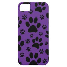Paw Print iphone case, Purple and black. Available on zazzle.com/marstondesigns