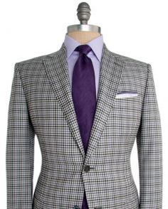 Image of Ermenegildo Zegna Cream and Charcoal with Purple Check Sportcoat