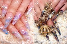 Long Gyaru nail art from Crea