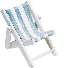 Mini Blue and White Striped Deck Chairs Beach Favor