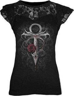 Spiral Direct - Vampires Kiss - Lace Layered Top - Black