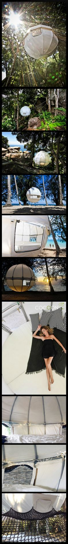 ERMAHGERD! I would live in this if I could! Cocoon Tree hanging tent. www.cocoontree.com/