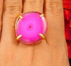 20 Carat. Gold Plated Pink Slice Agate Handmade Adjustable Ring Jewelry NJC2386 #Handmade