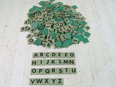 Vintage Sea Foam Blue Green Letter Tiles Set  by DivineOrders, $32.00