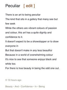 There is beauty in being a little different