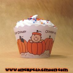 lil pumpkin pumpkin baby in a little pumpkin cupcake wrappers for autumn/fall baby shower or 1st birthday party. custom personalized - set of 12 handmade by OnCupcakeMoon