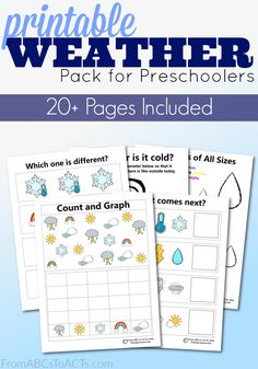 This printable weather activity pack for preschoolers is a great way to introduce your little ones to lots of different types of weather!