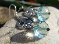 Art Nouveau Earrings Ice Blue Crystal Sterling Silver by taradawn, $22.00