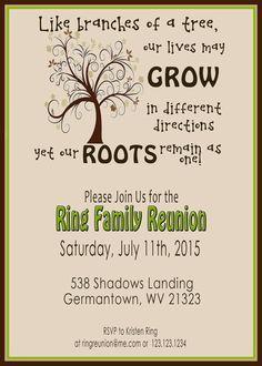 Family tree reunion party invitations templates invitation template family reunion invite swirly tree printable digital invitation stopboris Images