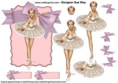 Prima Ballerina Decoupage Large Topper on Craftsuprint designed by Sue Way - A beautiful ballerina, would be lovely for a budding dancer or anyone who loves ballet. Includes large topper, decoupage layers, 2 blank tags