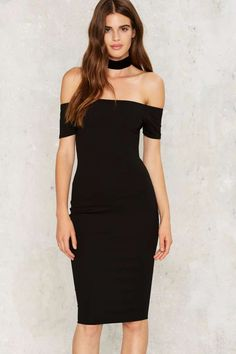 Nasty Gal Go Off Midi Dress - Last Chance | Cocktail Dresses | Black Dresses | Dresses | Party Clothes | All Party | Off The Shoulder