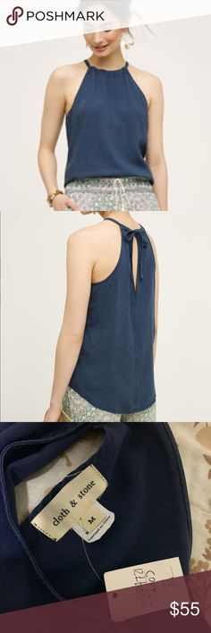 Anthropologie Cloth and Stone Kalla halter Anthropologie Cloth and Stone Kalla halter | color: navy; color true to models NOT the hanger pictures (The lighting is off- I'll upload new pictures later!) | size: medium; adjustable halter tie back  *New with tags* Anthropologie Tops