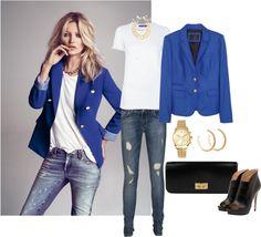 """Kate Moss. Blue blazer."" by gailschurman on Polyvore"