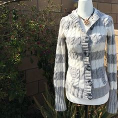 Aeropostale hooded cardigan Really cute button down hooded cardigan. Chunky grey and white stripes. Super soft and comfy too. Excellent condition. 90% acrylic 10% wool. Aeropostale Sweaters Cardigans