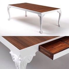 """Gareth Brown, South Australia. Table Number One. """"The idea behind this table was to merge quintessential ball and claw legs with a minimalist tabletop."""" The legs were hand carved from Brazilian mahogany, the top is American walnut veneered onto MDF. Photo: Gregory Ackland. Entered in Studio Furniture 2008.  #tabledesign #garethbrown #finefurniture #traditionalmeetscontemporary #handcarved #handmade #cabriole #ballandclaw #walnut #dowoodworking #brazilianmahogany #woodworking #table…"""