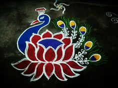 By Anu Sri Peacock Crafts, Peacock Rangoli, Indian Rangoli, Flower Rangoli, Rangoli Patterns, Rangoli Ideas, Rangoli Designs Diwali, Diwali Rangoli, Rangoli Designs Latest