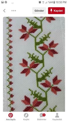 This Pin was discovered by Mür Cross Stitch Art, Cross Stitch Borders, Simple Cross Stitch, Cross Stitch Flowers, Cross Stitch Designs, Cross Stitching, Cross Stitch Embroidery, Cross Stitch Patterns, Hand Embroidery Designs
