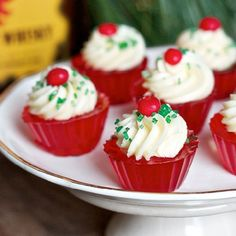 Fireball Whisky is used to make these spicy and sweet jello shot cupcakes - the perfect winter warmer for your holiday party!