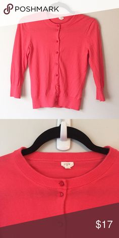 J.Crew 100% Cotton Cardigan This pretty and pink J. Crew cardigan is 100% cotton and very soft. It has 3/4 length sleeves and is in great condition. Reasonable offers welcome and don't forget to bundle for a discount. Xoxo, J J. Crew Sweaters Cardigans
