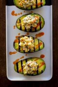 "vegan-yums: "" Vegan Mexican street corn in grilled avocado boats / Recipe "" Vegan Bbq Recipes, Barbecue Recipes, Avocado Recipes, Delicious Vegan Recipes, Whole Food Recipes, Free Recipes, Vegan Meals, Vegan Food, Grilled Recipes"