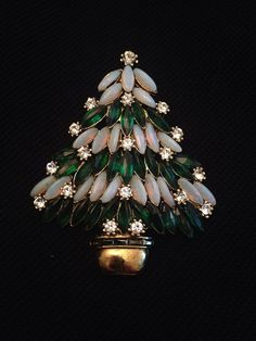 Vintage Estate Signed Weiss Gorgeous Christmas Tree Brooch / Pin                                                                                                                                                                                 More