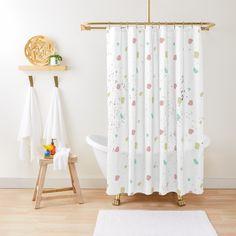 'Pastel Colors Minimal Pattern' Shower Curtain by Izabrella Pink Patterns, Flower Patterns, Pink Shower Curtains, Pink Showers, Hummingbird Flowers, Pastel Colors, Pastel Pink, Pink Yellow, Mint Green