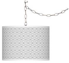 Diamonds Shade Silver 13 1/2-Inch-W Plug-In Chandelier -