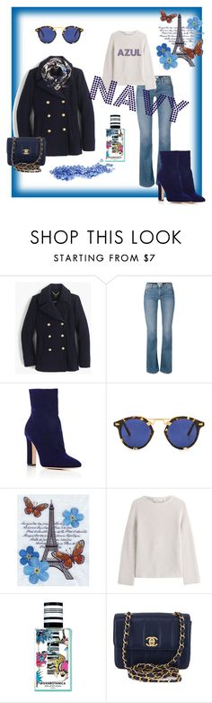 """""""AZUL NAVY"""" by amaiba ❤ liked on Polyvore featuring J.Crew, Gianvito Rossi, Krewe, Helmut Lang, Balenciaga, Chanel and Witchery"""