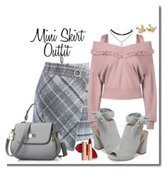 """""""Mini Skirt Outfit"""" by mozeemo ❤ liked on Polyvore featuring Chicwish, Burberry and Kristin Cavallari"""