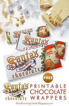 FREE Printable Santa Claus Christmas Chocolate Bar Wrappers | These printable candy bar wrappers make great affordable Christmas gifts! They feature a vintage Santa and fit three different-sized chocolate bars, including two Hershey bars. They can also be modified for other sizes.  #PrintableChristmasGifts #VintageSanta  #FREEChristmasPrintables #FREEPrintables #HersheyWrappers #ChristmasCandyWrappers #ChristmasGiftIdeas #CarlaChadwick