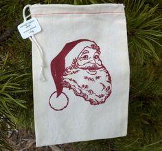 Screen Print Fabric Santa Bag - 5 pack
