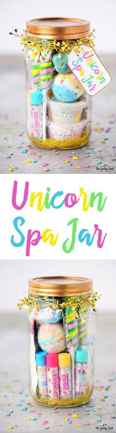 This Unicorn Spa Jar is for the girly girls is your life who love all things sparkly and colorful. They can use the fun gift in a jar to have a spa day. These mason jars would be perfect for a girls birthday party or give as a Christmas gift. - Crafts For Spa Birthday, Unicorn Birthday Parties, Birthday Woman, 10th Birthday, Birthday Quotes, Women Birthday, Birthday Board, Birthday Images, Diy Birthday Gift