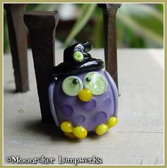 Owl Witch Halloween Lampwork Bead by moonrakerbeads on Etsy, $11.00
