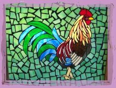 simple rooster mosaic  | Stained Glass Pattern Club~ July'98 stained glass pattern set