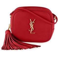 Saint Laurent Monogram Blogger Crossbody Bag (17,690 MXN) ❤ liked on Polyvore featuring bags, handbags, shoulder bags, purses, ysl, red, handbags shoulder bags, shoulder handbags, purse shoulder bag and hand bags